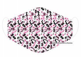 MÁSCARA EM TECIDO GLITTER MOD992 Estampa personalizada no tecido 100% poliéster   1 camada de TECIDO TRICOLINE 100% ALGODÃO formando uma dupla proteção. Costura