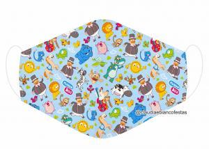 MÁSCARA EM TECIDO INFANTIL (BITA) MOD1128 Estampa personalizada no tecido 100% poliéster   1 camada de TECIDO TRICOLINE 100% ALGODÃO formando uma dupla proteção. Costura