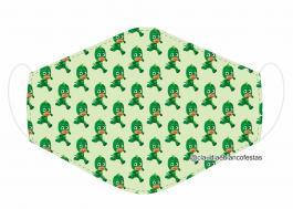 MÁSCARA EM TECIDO INFANTIL (PJ MASKS) MOD815 Estampa personalizada no tecido 100% poliéster   1 camada de TECIDO TRICOLINE 100% ALGODÃO formando uma dupla proteção. Costura
