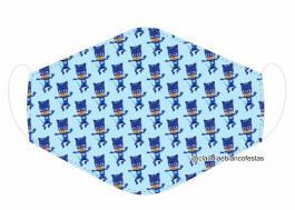 MÁSCARA EM TECIDO INFANTIL (PJ MASKS) MOD816 Estampa personalizada no tecido 100% poliéster   1 camada de TECIDO TRICOLINE 100% ALGODÃO formando uma dupla proteção. Costura