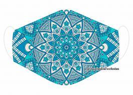 MÁSCARA EM TECIDO MANDALA MOD734 Estampa personalizada no tecido 100% poliéster   1 camada de TECIDO TRICOLINE 100% ALGODÃO formando uma dupla proteção. Costura