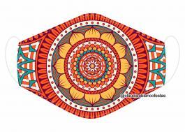 MÁSCARA EM TECIDO MANDALA MOD736 Estampa personalizada no tecido 100% poliéster   1 camada de TECIDO TRICOLINE 100% ALGODÃO formando uma dupla proteção. Costura