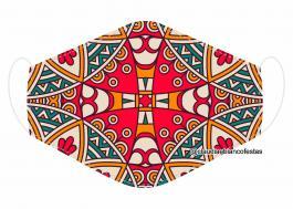 MÁSCARA EM TECIDO MANDALA MOD737 Estampa personalizada no tecido 100% poliéster   1 camada de TECIDO TRICOLINE 100% ALGODÃO formando uma dupla proteção. Costura