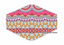 MÁSCARA EM TECIDO MANDALA MOD738 Estampa personalizada no tecido 100% poliéster   1 camada de TECIDO TRICOLINE 100% ALGODÃO formando uma dupla proteção. Costura