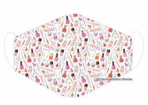 MÁSCARA EM TECIDO MODA E BELEZA MOD1158 Estampa personalizada no tecido 100% poliéster   1 camada de TECIDO TRICOLINE 100% ALGODÃO formando uma dupla proteção. Costura