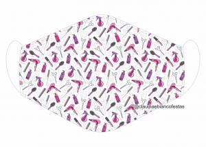 MÁSCARA EM TECIDO MODA E BELEZA MOD1170 Estampa personalizada no tecido 100% poliéster   1 camada de TECIDO TRICOLINE 100% ALGODÃO formando uma dupla proteção. Costura