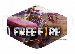 MÁSCARA EM TECIDO GAMES FREE FIRE  MOD135 Estampa personalizada no tecido 100% poliéster   1 camada de TECIDO TRICOLINE 100% ALGODÃO formando uma dupla proteção. Costura
