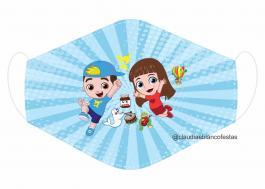 MÁSCARA EM TECIDO INFANTIL LUCCAS NETO MOD144 Estampa personalizada no tecido 100% poliéster   1 camada de TECIDO TRICOLINE 100% ALGODÃO formando uma dupla proteção. Costura
