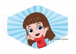 MÁSCARA EM TECIDO INFANTIL LUCCAS NETO MOD146 Estampa personalizada no tecido 100% poliéster   1 camada de TECIDO TRICOLINE 100% ALGODÃO formando uma dupla proteção. Costura