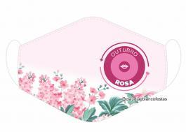 MÁSCARA EM TECIDO OUTUBRO ROSA MOD875 Estampa personalizada no tecido 100% poliéster   1 camada de TECIDO TRICOLINE 100% ALGODÃO formando uma dupla proteção. Costura