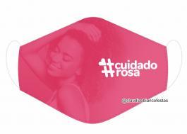MÁSCARA EM TECIDO OUTUBRO ROSA MOD877 Estampa personalizada no tecido 100% poliéster   1 camada de TECIDO TRICOLINE 100% ALGODÃO formando uma dupla proteção. Costura