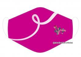 MÁSCARA EM TECIDO OUTUBRO ROSA MOD885 Estampa personalizada no tecido 100% poliéster   1 camada de TECIDO TRICOLINE 100% ALGODÃO formando uma dupla proteção. Costura