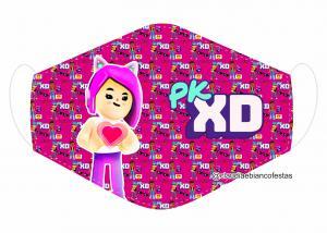 MÁSCARA EM TECIDO PKXD (INFANTIL) MOD1413 Estampa personalizada no tecido 100% poliéster   1 camada de TECIDO TRICOLINE 100% ALGODÃO formando uma dupla proteção. Costura