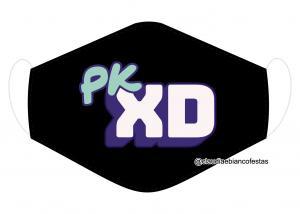 MÁSCARA EM TECIDO PKXD (INFANTIL) MOD1420 Estampa personalizada no tecido 100% poliéster   1 camada de TECIDO TRICOLINE 100% ALGODÃO formando uma dupla proteção. Costura