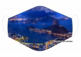 MÁSCARA EM TECIDO RIO DE JANEIRO MOD698 Estampa personalizada no tecido 100% poliéster   1 camada de TECIDO TRICOLINE 100% ALGODÃO formando uma dupla proteção. Costura