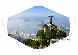 MÁSCARA EM TECIDO RIO DE JANEIRO MOD699 Estampa personalizada no tecido 100% poliéster   1 camada de TECIDO TRICOLINE 100% ALGODÃO formando uma dupla proteção. Costura