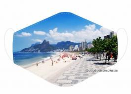 MÁSCARA EM TECIDO RIO DE JANEIRO MOD906 Estampa personalizada no tecido 100% poliéster   1 camada de TECIDO TRICOLINE 100% ALGODÃO formando uma dupla proteção. Costura