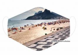 MÁSCARA EM TECIDO RIO DE JANEIRO MOD907 Estampa personalizada no tecido 100% poliéster   1 camada de TECIDO TRICOLINE 100% ALGODÃO formando uma dupla proteção. Costura