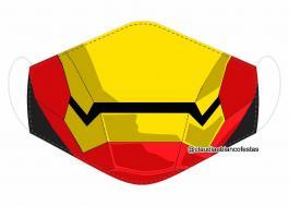 MÁSCARA EM TECIDO SUPER HEROES HOMEM DE FERRO MOD673 Estampa personalizada no tecido 100% poliéster   1 camada de TECIDO TRICOLINE 100% ALGODÃO formando uma dupla proteção. Costura