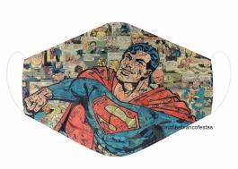 MÁSCARA EM TECIDO SUPER HEROES SUPERMAN MOD769 Estampa personalizada no tecido 100% poliéster   1 camada de TECIDO TRICOLINE 100% ALGODÃO formando uma dupla proteção. Costura
