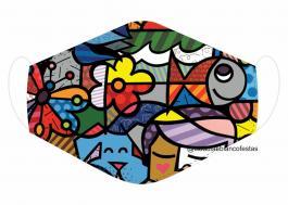 MÁSCARA EM TECIDO ROMERO BRITO MOD023 Estampa personalizada no tecido 100% poliéster   1 camada de TECIDO TRICOLINE 100% ALGODÃO formando uma dupla proteção. Costura
