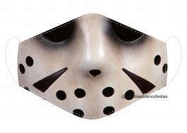 MÁSCARA EM TECIDO JASON MOD046 Estampa personalizada no tecido 100% poliéster   1 camada de TECIDO TRICOLINE 100% ALGODÃO formando uma dupla proteção. Costura
