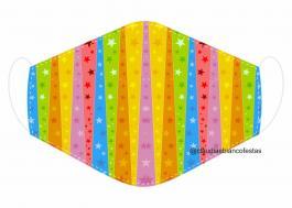MÁSCARA EM TECIDO INFANTIL MOD093 Estampa personalizada no tecido 100% poliéster   1 camada de TECIDO TRICOLINE 100% ALGODÃO formando uma dupla proteção. Costura