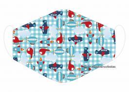 MÁSCARA EM TECIDO INFANTIL MOD098 Estampa personalizada no tecido 100% poliéster   1 camada de TECIDO TRICOLINE 100% ALGODÃO formando uma dupla proteção. Costura