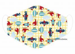 MÁSCARA EM TECIDO INFANTIL MOD099 Estampa personalizada no tecido 100% poliéster   1 camada de TECIDO TRICOLINE 100% ALGODÃO formando uma dupla proteção. Costura