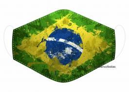 MÁSCARA EM TECIDO BRASIL MOD108 Estampa personalizada no tecido 100% poliéster   1 camada de TECIDO TRICOLINE 100% ALGODÃO formando uma dupla proteção. Costura