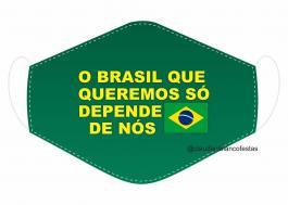 MÁSCARA EM TECIDO BRASIL MOD110 Estampa personalizada no tecido 100% poliéster   1 camada de TECIDO TRICOLINE 100% ALGODÃO formando uma dupla proteção. Costura