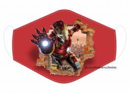 MÁSCARA EM TECIDO SUPER HEROES HOMEM DE FERRO MOD124 Estampa personalizada no tecido 100% poliéster   1 camada de TECIDO TRICOLINE 100% ALGODÃO formando uma dupla proteção. Costura