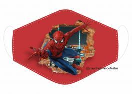 MÁSCARA EM TECIDO SUPER HEROES HOMEM ARANHA MOD126 Estampa personalizada no tecido 100% poliéster   1 camada de TECIDO TRICOLINE 100% ALGODÃO formando uma dupla proteção. Costura