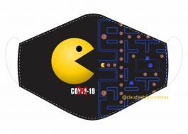 MÁSCARA EM TECIDO GAMES PAC-MAN MOD128 Estampa personalizada no tecido 100% poliéster   1 camada de TECIDO TRICOLINE 100% ALGODÃO formando uma dupla proteção. Costura