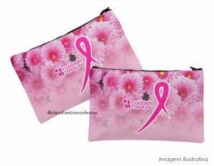 Necessarie outubro rosa Tecido 100% Poliéster Carteira P (20L X 14A) | Carteira G (30A X 16A)  Duratran 600 Costura Artesanal