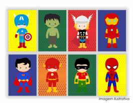 Placa decorativa super heroes - 70x52cm  70x52cm  Impressão UV Led
