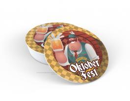 Porta copo em PS - Oktoberfest Poliestireno 9cm diâmetro  Impressão UV Led