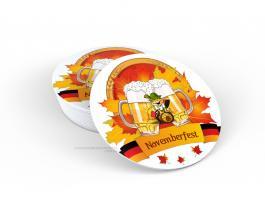 Porta copo em PS - Novemberfest Poliestireno 9cm diâmetro  Impressão UV Led