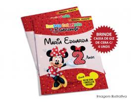 Revistinha Minnie Vermelha + Giz de Cera Capa Papel Fotográfico 230g L 14,8cm  x 21cm A