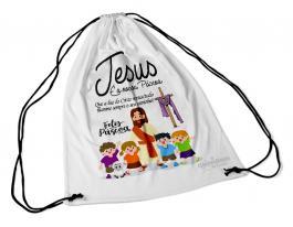Sacochila - Jesus é a nossa páscoa Tecido 100% Poliéster (microfibra)  Personalizado Frente e Verso Sublimação