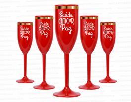 Taça de champanhe feliz saúde, amor e paz de 160ml Polietileno   Silk-Screen