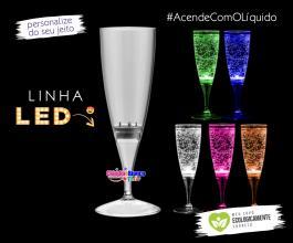 Taça de champanhe com LED acionamento com adição de líquido de 160ml Polietileno 160ml  Silk-Screen  Neoplas