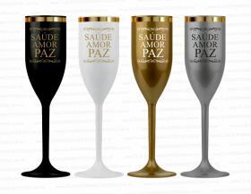 Taça de champanhe reveillon saúde, amor e paz de 160ml Polietileno  Impressão em silk direto na taça Silk-Screen  PEDIDO MINIMO PARA PRODUÇÃO: 50 TAÇAS